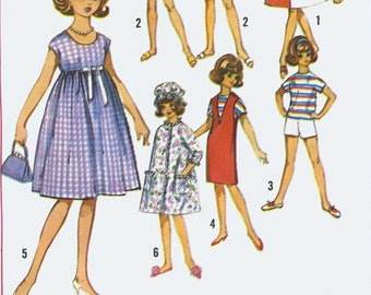 Sewing Pattern Tammy Barbie 11.5 in fashion doll Dress Tunic retro fashions for dolls TO SEW download