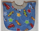 Baby bib pullover fleece antique car print for baby through toddler years