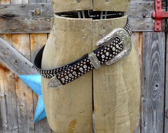 pony hide, studded, rhinestoned, vintage cowgirl belt by 3D