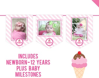 INSTANT DOWNLOAD Ice Cream Party - DIY printable photo banner kit