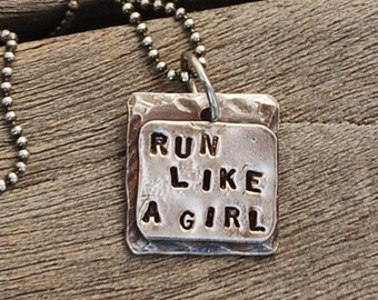 RUN Like A GIRL Sterling Silver stamped Charm Pendant on Oxidized Ball Chain  Rustic two layer dark silver 20 inch Necklace
