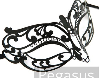 Black Rose lace Patterned Venetian Filigree Scroll work Metal Masquerade Mask (1 Piece)(color options) Lightweight Laser Cut Mask