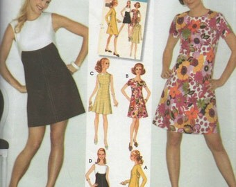 SimplicitySewing Pattern Misses Dress 1960s Retro Uncut #3833 SZ6-14