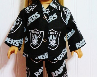 "FOOTBALL Raiders Pajamas Fits 18"" Dolls  - Proudly Made in America"