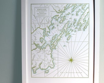 Portland Maine, Letterpress Map Art Print, Olive Green