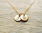 Personalized Mothers Necklace, 14kt Gold Filled Initial Necklace, Gold Initial Charm, Necklace Gift for Mom, Initial Disc, 1-8 Initials