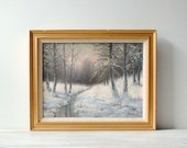 Vintage Painting, Framed Winter Trees Woods Landscape Painting, Original Signed Hand Painted Art
