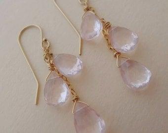 Pink gemstone earrings, pink and gold earrings, rose quartz earrings, pink quartz earrings, pink quartz dangle earrings, handmade