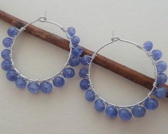 Beaded hoop earrings gemstone hoops tanzanite earrings tanzanite and silver wire wrapped hoops lavender hoop earrings periwinkle earrings