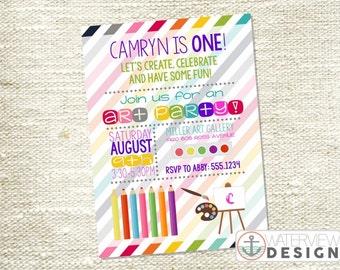 art party birthday invite // diy printable invitation
