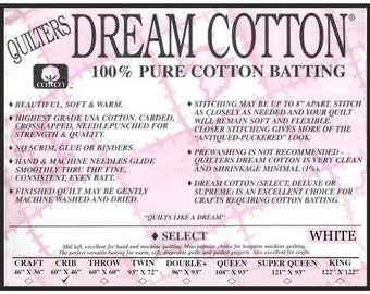 """Quilters Dream Crib White Cotton Select Quilt Batting 60"""" x 46"""""""