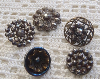 Vintage Cut Steel Buttons 5 Pc. Assorted Styles