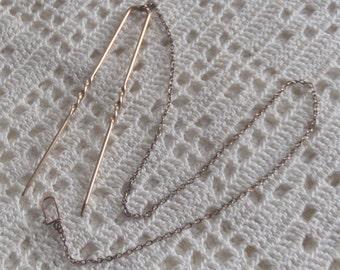 Vintage Pince Nez Hair Pin Lorgnette Chain
