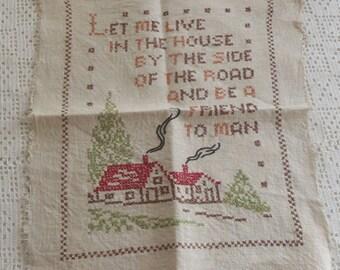 Vintage Sampler Cross Stitch House Embroidery
