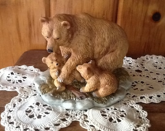 Grizzly Bears Figurine Vintage Homco Porcelain #1435 Adorable Rustic Cabin Decor