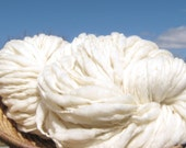 15% off 200 yards and 12.4 ounces, 352 grams chunky handspun yarn, spun thick and thin in undyed cream merino wool