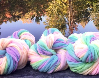 Pastel rainbow yarn, handspun, self striping and thick and thin in merino wool - 6 skeins of 60 yards each; 360 yards total