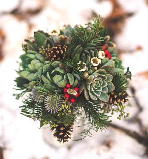Items similar to winter bridal bouquet succulents