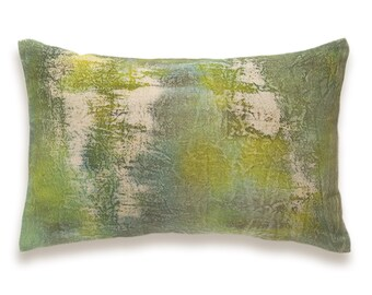 Lime Olive Moss Bottle Green Khaki Beige Decorative Lumbar Pillow Cover 12x18 inch Natural Linen One Of A Kind