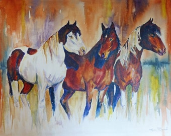 Orignal Large Wild Horse Acrylic Painting by Maure Bausch