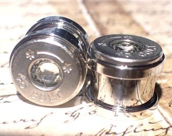 Bullet ear gauges Silver ( or Brass) Colt 45 Bullet Plug Earrings Bullet Shell u pick your gauge ...Clear crystal in center bullet gauges