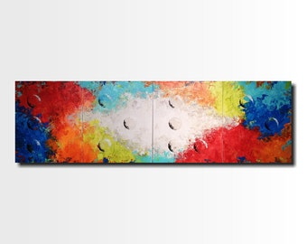 Original Large Abstract Braille painting - 20 X 64 Inches-by Artist JMJartstudio- LOVE -Wall art-wall decor - Red and orange painting-Oil