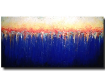 Original Large Abstract painting - 24 X 48  JMJartstudio- Retreat -Wall art-wall decor - Blue painting-Oil painting