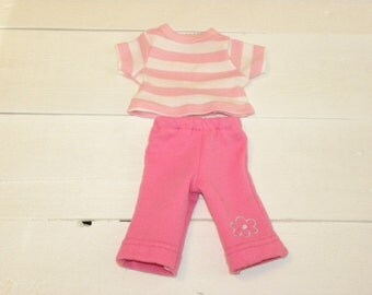 Candy Pink Pants and Striped Tshirt -  14 - 15 inch doll clothes