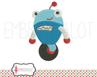 Cute robot embroidery design. Cute, geektacular machine embroidery. Fun geek embroidery for boys and awesome girls. Boys embroidery.