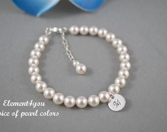 Pearl bracelet, Initial charm bracelet, Bridesmaid pearl bracelet, Single Pearl strand, Wedding Jewelry gift, Classic pearl bracelet.
