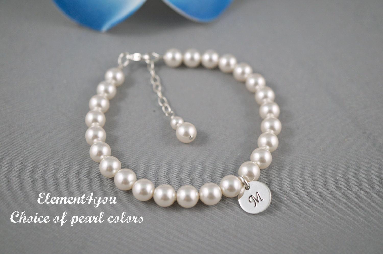 pearl bracelet initial charm bracelet bridesmaid pearl