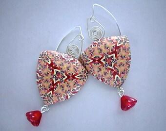 Kaleidoscope Earrings, Handmade Earring, Millefiori Earrings, Polymer Clay, Elegant Jewelry, Alhambra Earrings, Red Earrings, Custom Jewelry