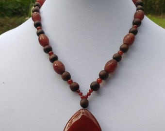 Carnelian and Rosewood Necklace