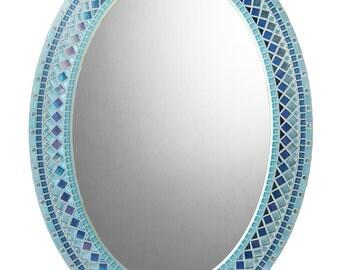 Oval Mosaic Wall Mirror - Sky Blue, Aqua, Royal Blue, Turquoise