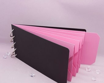 """Pink Shades, Pocket Tag, Chipboard Album, Size 8-1/4"""" x 4-1/4"""", Scrapbooking, Memory Keeping, Photo Album, Black Covers, Breast Cancer"""