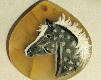 Dapple gray horse on dragon vein agate pendant