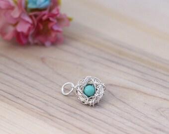 new mother gift, Single egg Sterling silver birds nest pendant, New mom bracelet charm, Mothers day pendant