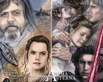 The Force Awakens - Luke, Rey, Han, Leia & Kylo Ren - Star Wars Traditional Art Watercolor Paintings - Two ACEO Prints - Hand Signed