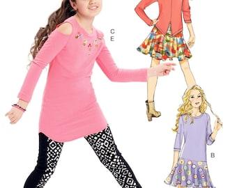 Girls' Tunic Top and Leggings Pattern, Girls' Dress Pattern, Girls' Flared Skirt Pattern, Sz 7 to 14, McCall's Sewing Pattern 7428
