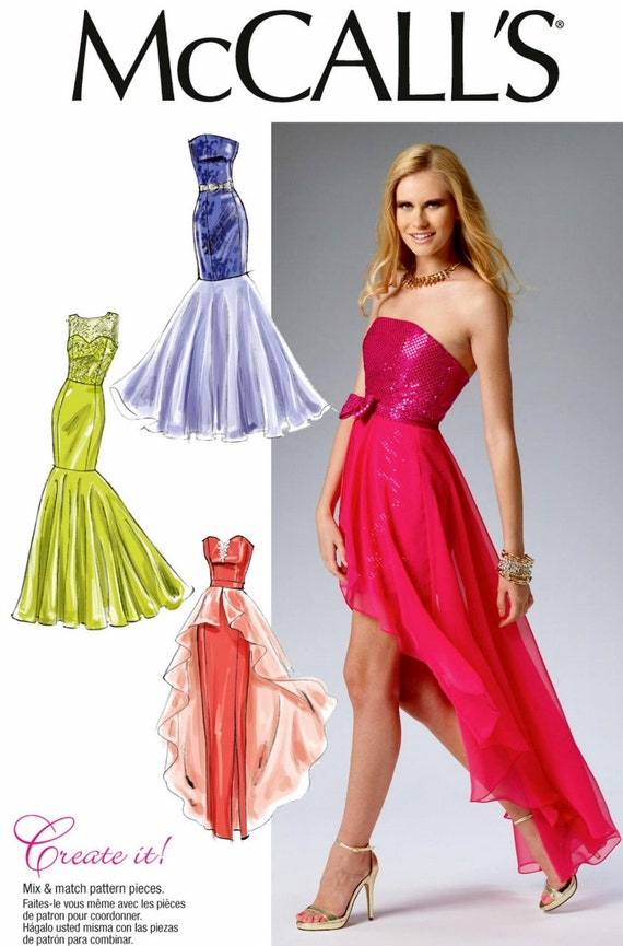 sewing pattern strapless evening gown pattern high low formal
