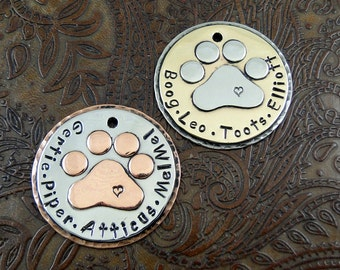 Personalized Dog Paw Pendant-Custom Dog Paw Keychain Fob-Handmade Luggage ID Tag