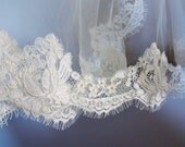 Wedding bridal chantilly alencon corded lace veil trimming scallop ivory 002