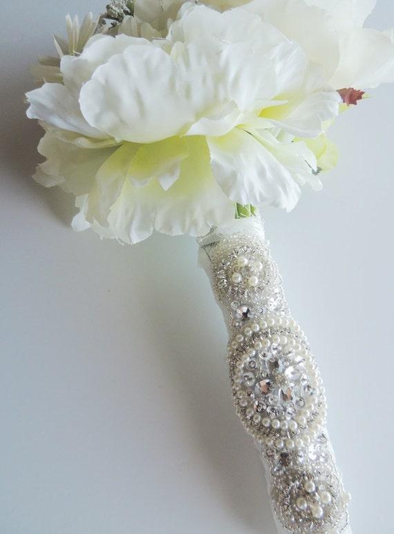 Beaded Pearl Crystal Bridal Bouquet Wrap By Tatishotties
