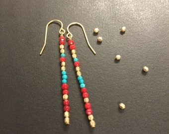 Long gold, coral and turqoise minimalist earrings