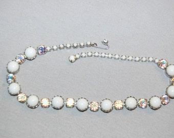 Vintage / Milk Glass / Aurora Borealis / Rhinestone / Necklace  / Collectible / old jewelry / jewellery