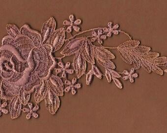 Hand dyed Venise Lace Applique Bridal Rose  Aged Violet Bliss