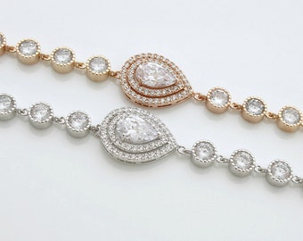 Crystal Wedding Bracelet Bridal Jewelry Rose Gold Bridal Bracelet Teardrop Crystal Bracelet, Joni Bracelet