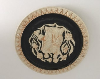 Unusual Porcelain Relief Greek Inspired Plate with holes for hanging with ribbon