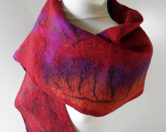 Felted Red Stole - Wool and Silk Nuno Felted - red orange purple brown petrol