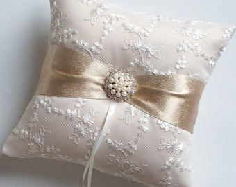 Wedding Ring Pillow, Rose Gold Pillow, Champagne Pillow with Net Lace, Rhinestone and Pearl Centered Sash